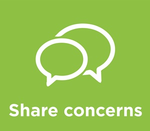 Share Concerns logo speech bubble on green background