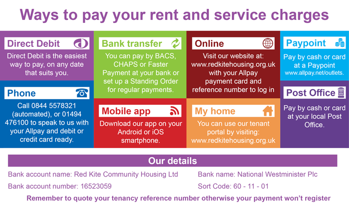 Ways to pay your rent and service charges