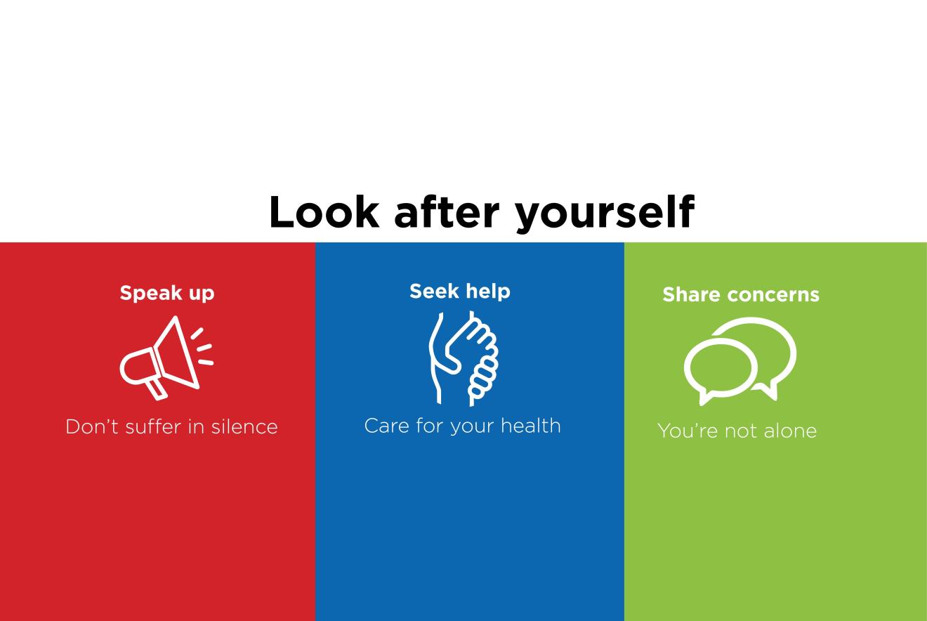 Look After Yourself logos on coloured background