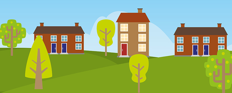 A row of houses and green space graphic on a banner