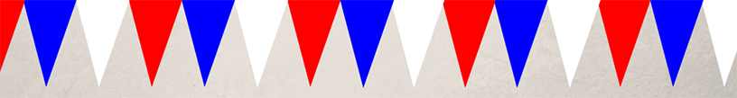 Blue, white and red VE day bunting
