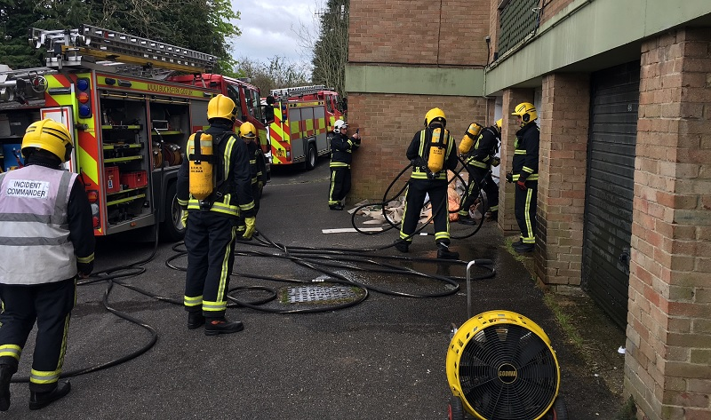 Firefighters getting ready for an exercise